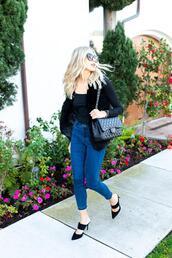 modern ensemble,blogger,t-shirt,jacket,sunglasses,chanel bag
