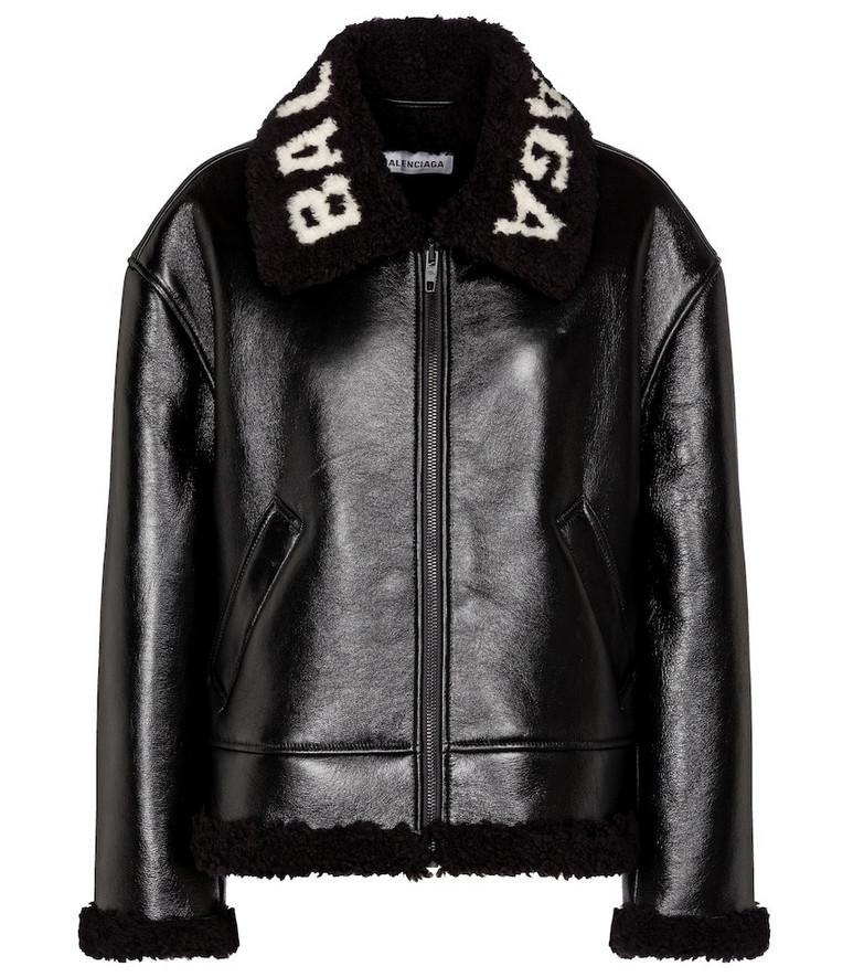 Balenciaga Logo shearling and leather jacket in black