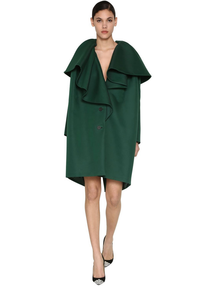 DELPOZO Ruffled Cotton Blend Twill Coat in green