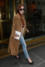 jeans,denim,celebrity,lindsay lohan,fall outfits,coat