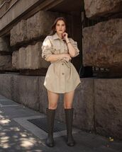 top,oversized shirt,knee high boots,casual