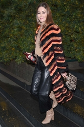 coat,orange,stripes,blogger,blogger style,fashion week,boots,olivia palermo