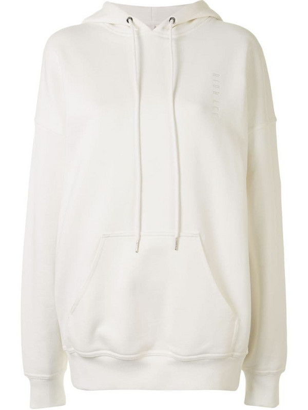 Dion Lee embroidered logo oversized hoodie in white