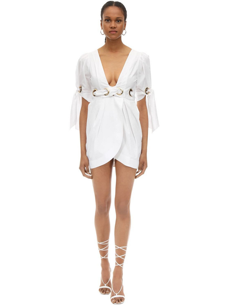 ALICE MCCALL Cotton Poplin Mini Wrap Dress in white