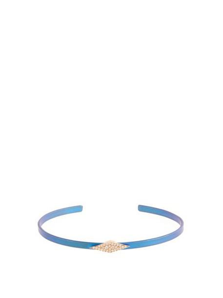 Diane Kordas - Diamond, Rose Gold & Titanium Kite Cuff - Womens - Blue