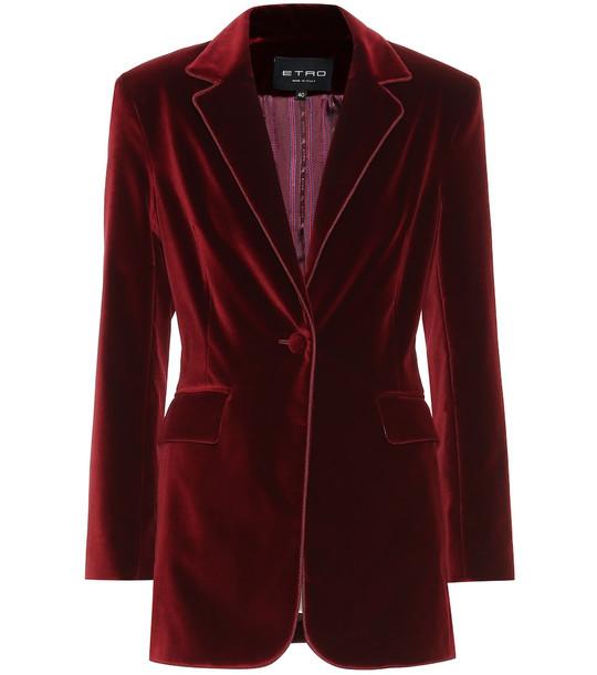Etro Velvet blazer in red
