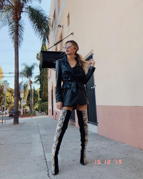 jacket black leather jacket over the knee boots snake print