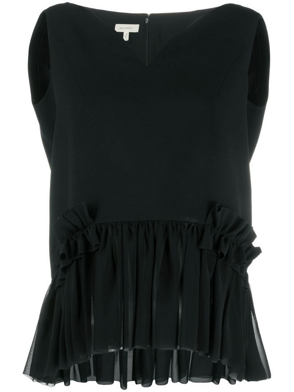 Delpozo chiffon-panelled top in black