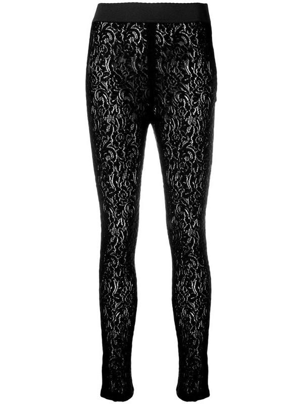 Dolce & Gabbana floral lace leggings in black