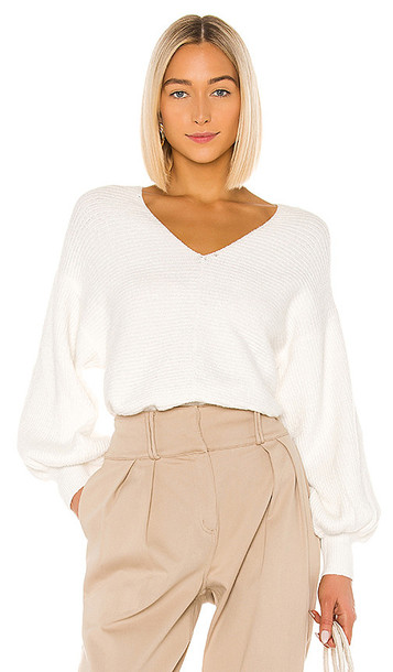 1. STATE Bubble Sleeve Pullover in White