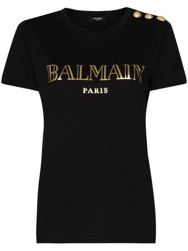 Balmain logo print T-shirt in black