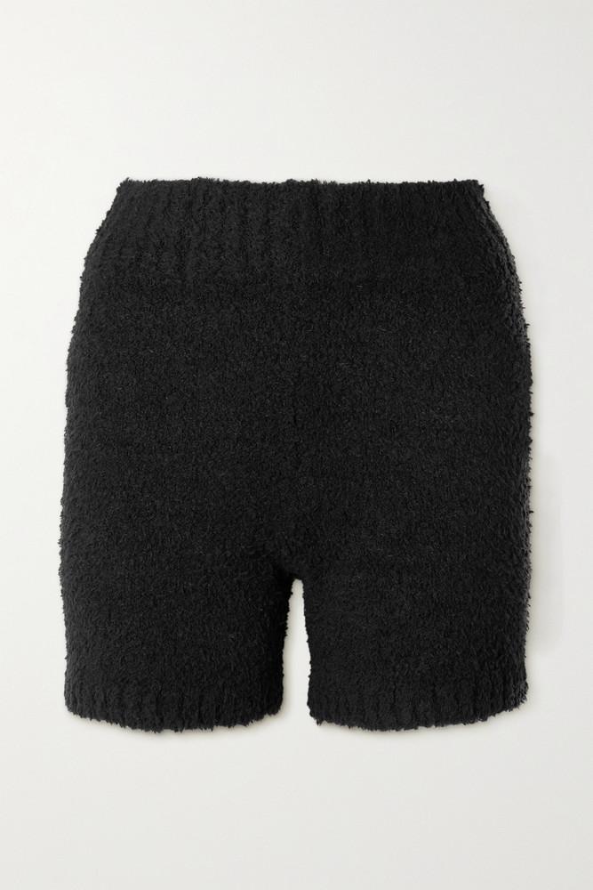 SKIMS - Cozy Knit Bouclé Shorts - Bone in black