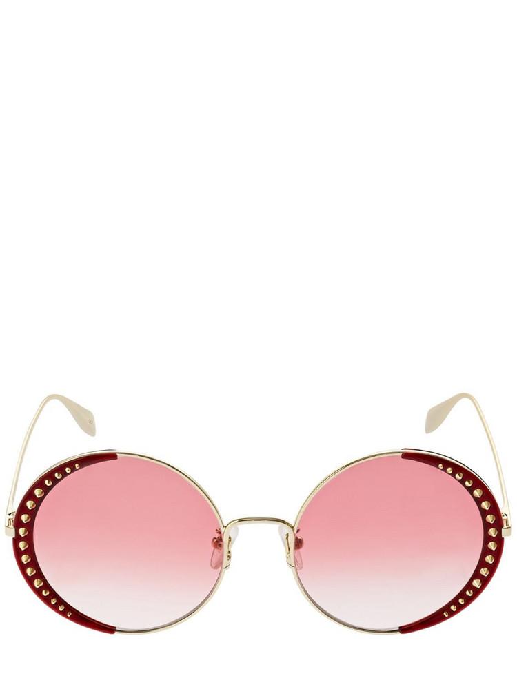 ALEXANDER MCQUEEN Round Metal Sunglasses W/ Studs in gold / red
