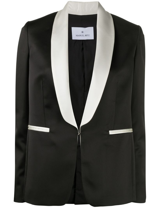 Manuel Ritz contrast lapel blazer in black
