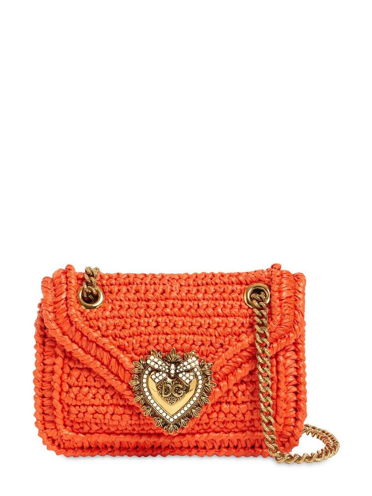 DOLCE & GABBANA Mini Devotion Crochet Shoulder Bag in orange