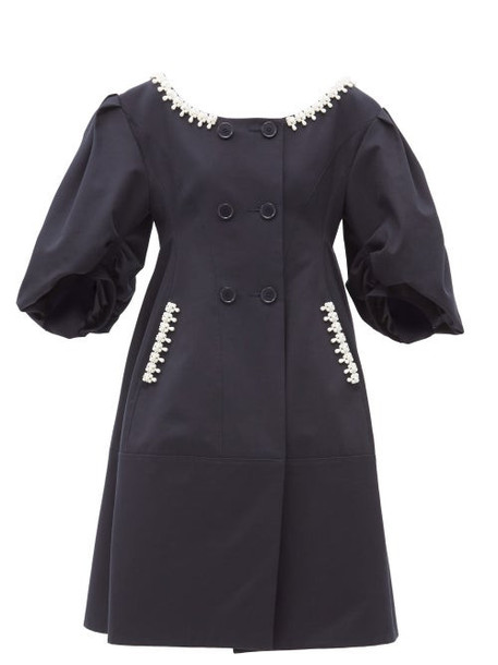Simone Rocha - Pearl-embellished Double-breasted Twill Coat - Womens - Navy