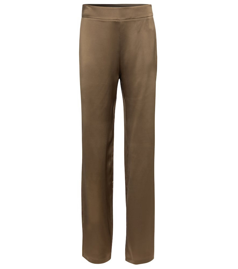 Safiyaa Zaya silk satin straight pants in brown