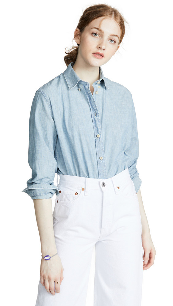 7 For All Mankind Button Down Shirt in blue