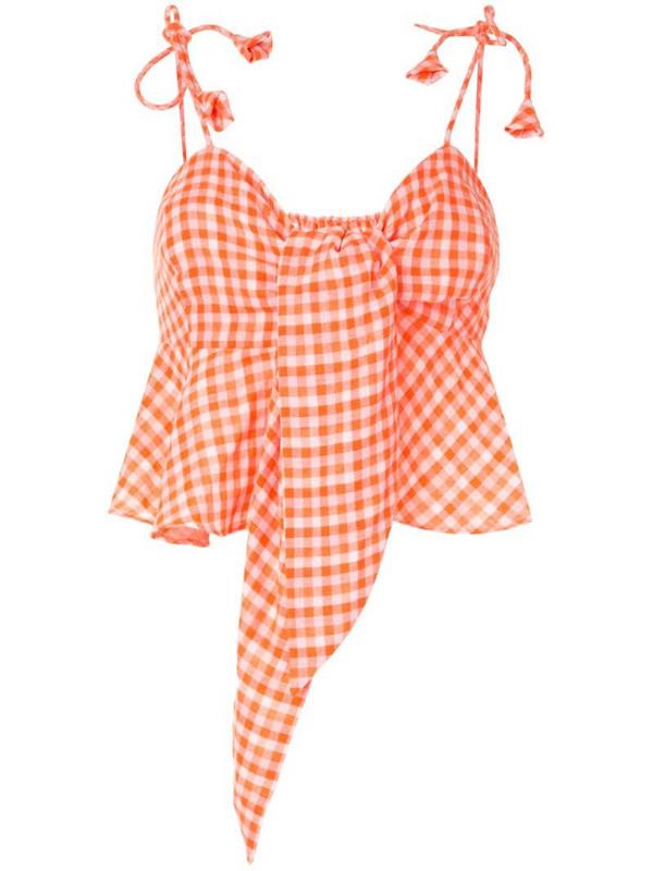 Bambah gingham print cropped top in orange