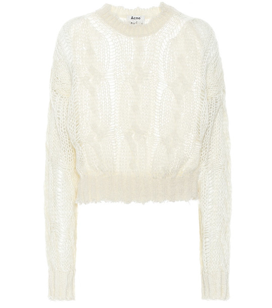 Acne Studios Frayed mohair-blend sweater in white