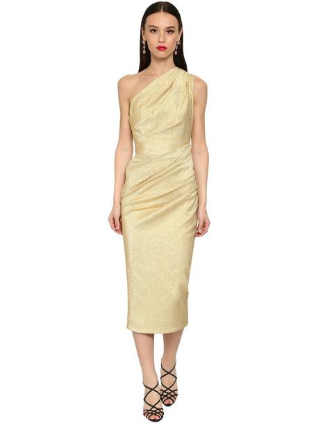 DOLCE & GABBANA One Shoulder Stretch Lamé Midi Dress in gold