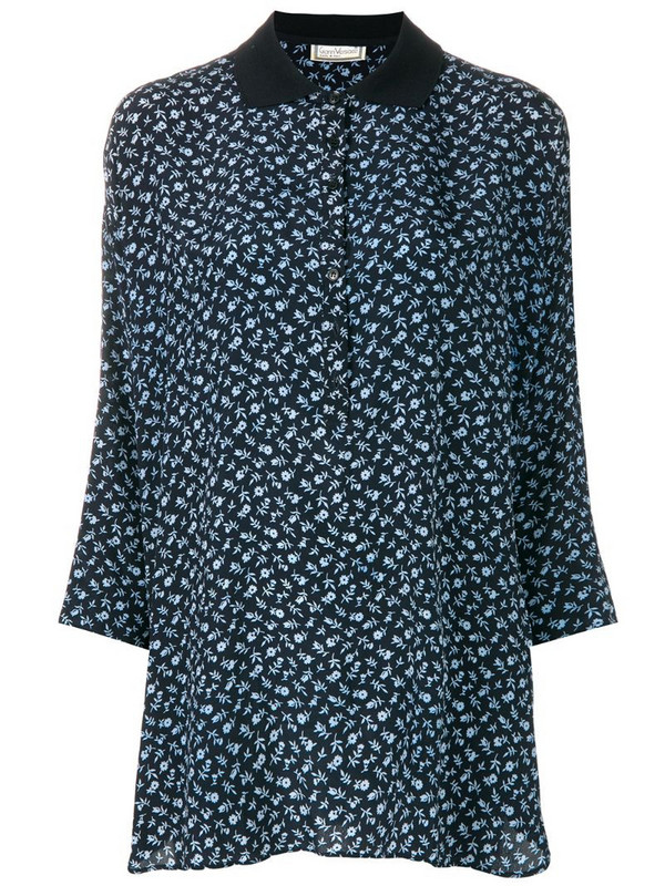 Versace Pre-Owned three-quarters sleeve floral blouse in blue