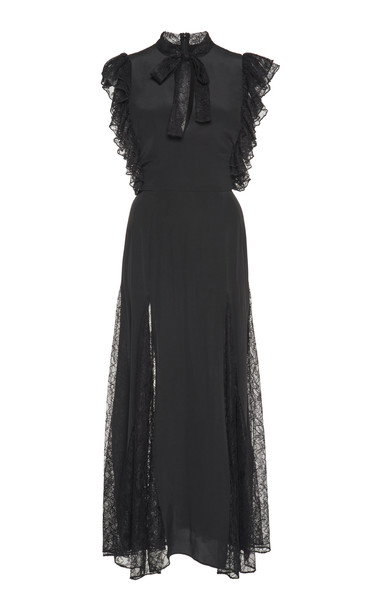 Alexis Sterling Lace Detail Dress in black