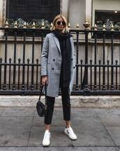 coat,plaid,double breasted,white sneakers,black pants,black bag,black sweater,scarf