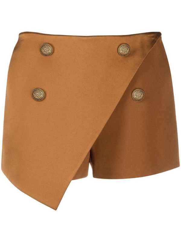 Balmain asymmetric hem skort in brown
