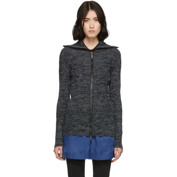 M Missoni Black and Multicolor Printed Zip-Up Sweater