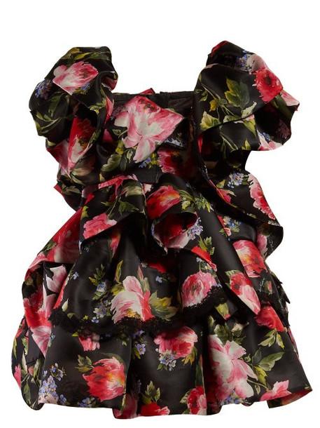 Dolce & Gabbana - Floral Print Ruffled Silk Blend Mini Dress - Womens - Black Multi