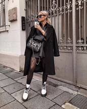 coat,black coat,double breasted,tights,white boots,lace up boots,mini dress,black dress,shirt dress,black bag