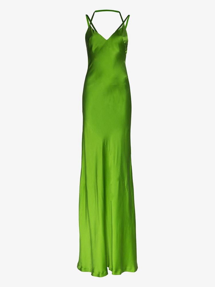 Haider Ackermann Spaghetti strap silk gown in green