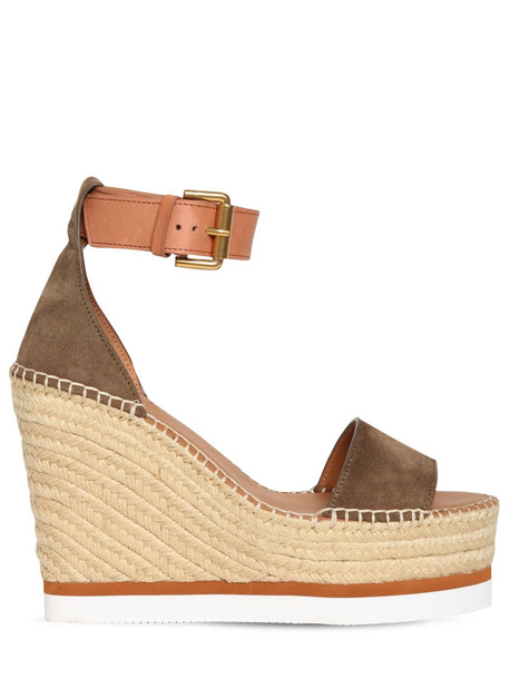 SEE BY CHLOÉ 120mm Suede Espadrille Sandals in khaki