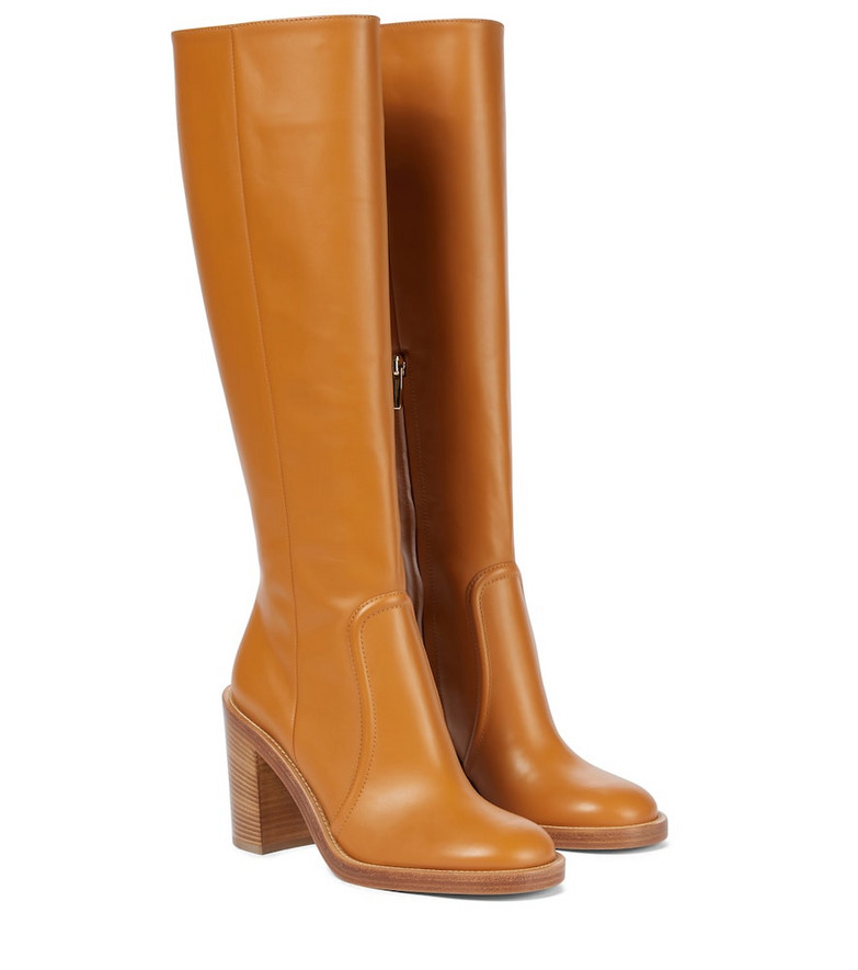 Gianvito Rossi Conner knee-high leather boots in brown