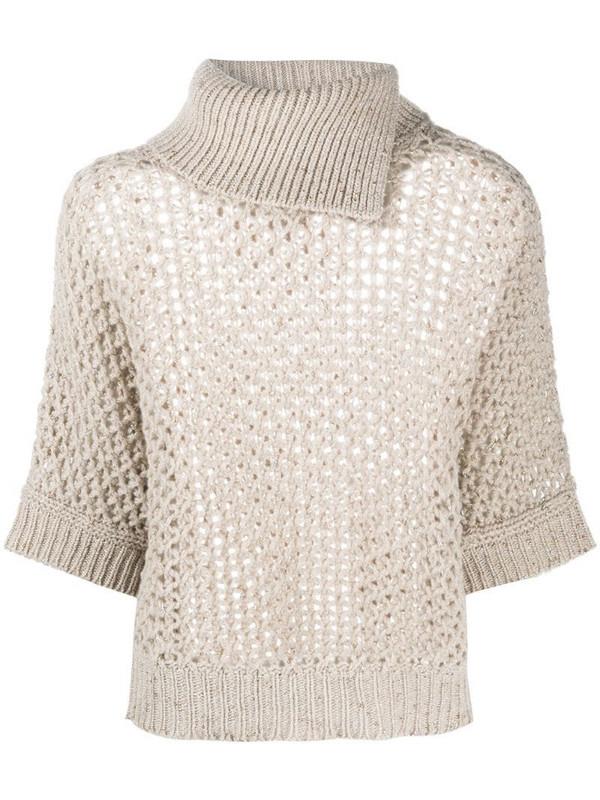 Peserico open-knit jumper in neutrals