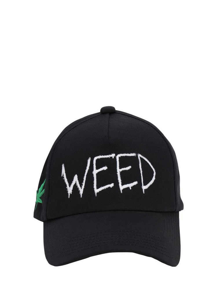 AZS TOKYO Weed Cotton Canvas Baseball Hat in black