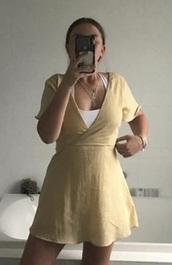 dress,pale yellow dress,v neck dress
