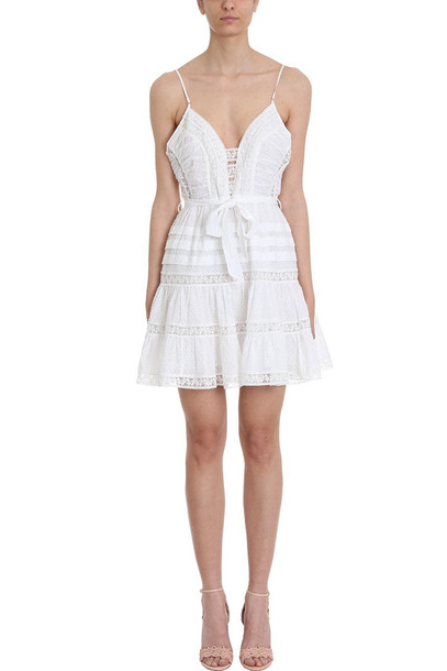 Zimmermann Honour Lace Insert Mini-dress in white