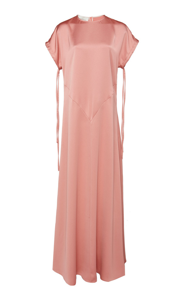Cédric Charlier Tied-Sleeve Satin Maxi Dress in pink