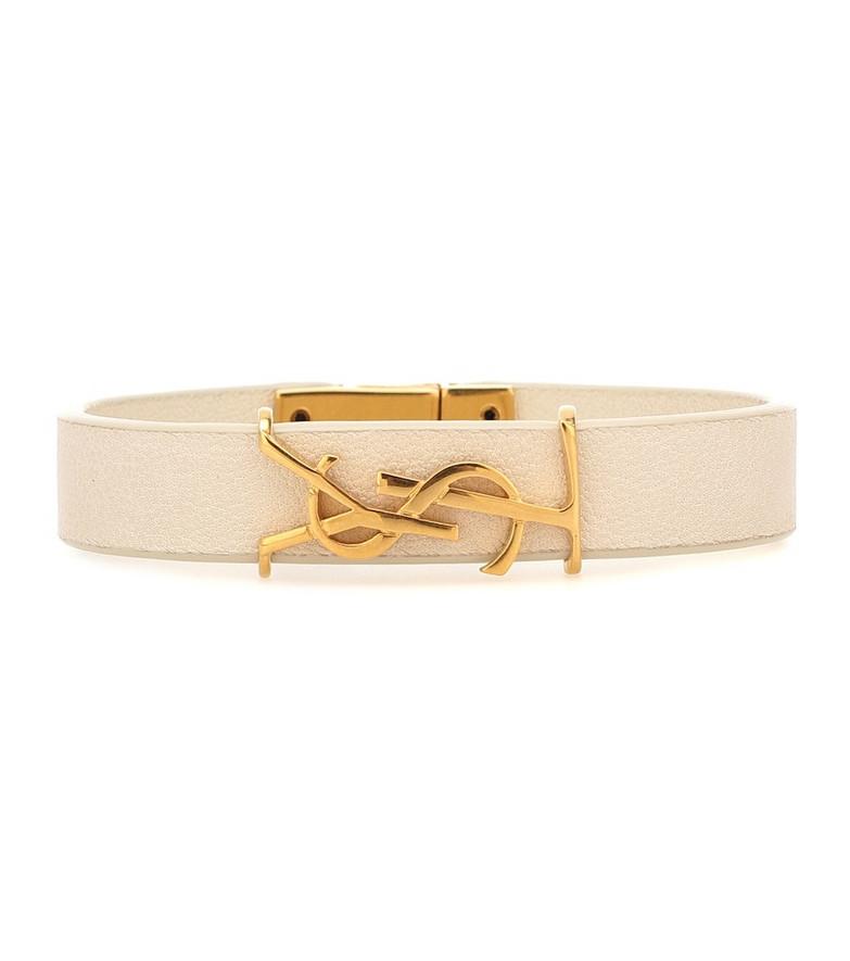 Saint Laurent Monogram leather bracelet in white