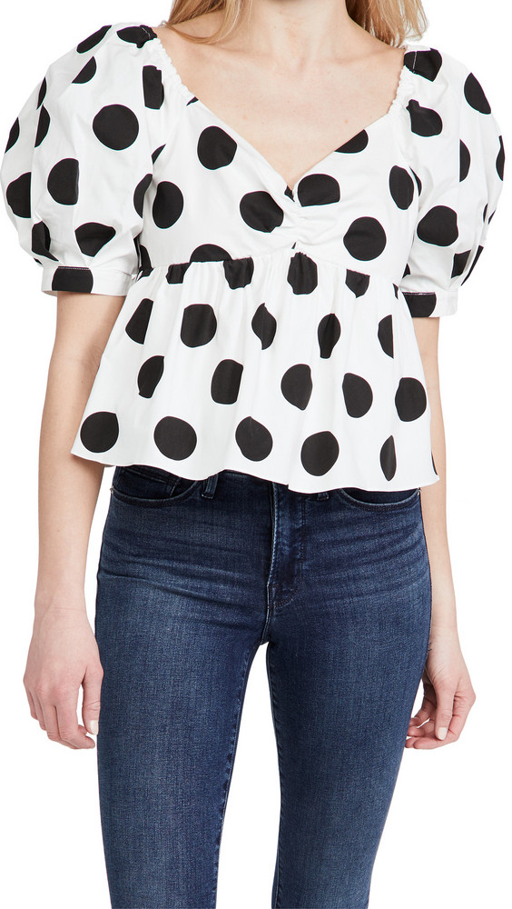 endless rose Dotted Puff Sleeve Blouse in black / white