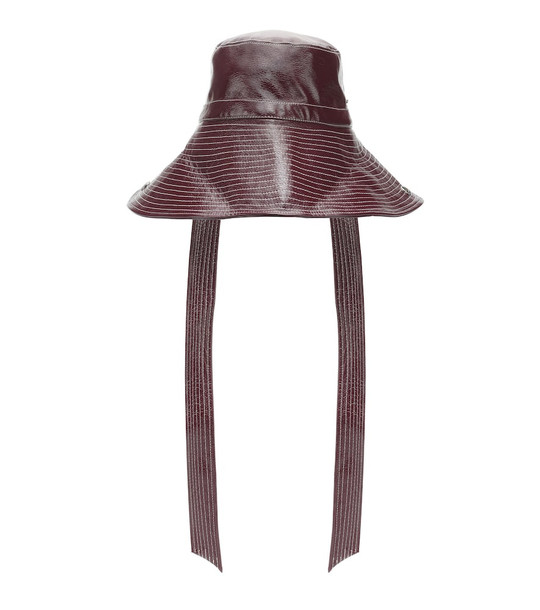 Ganni Patent faux leather hat in brown