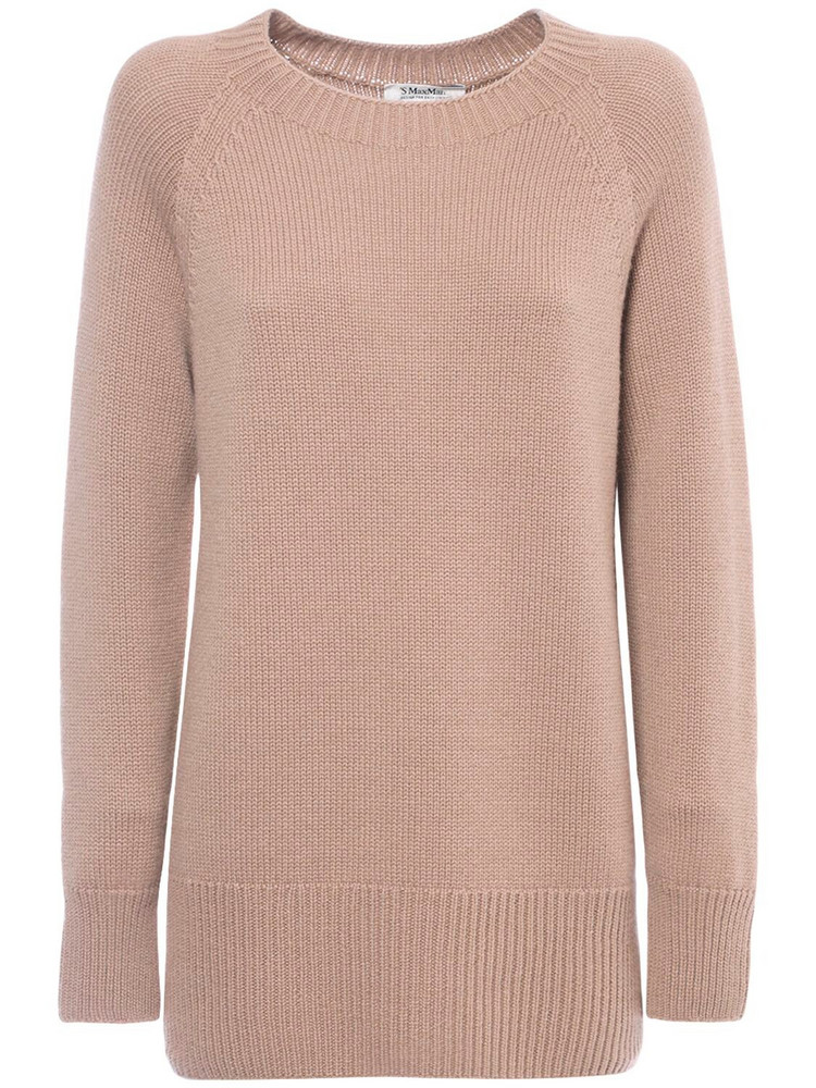 MAX MARA 'S Cashmere Knit Round Neck Sweater in camel