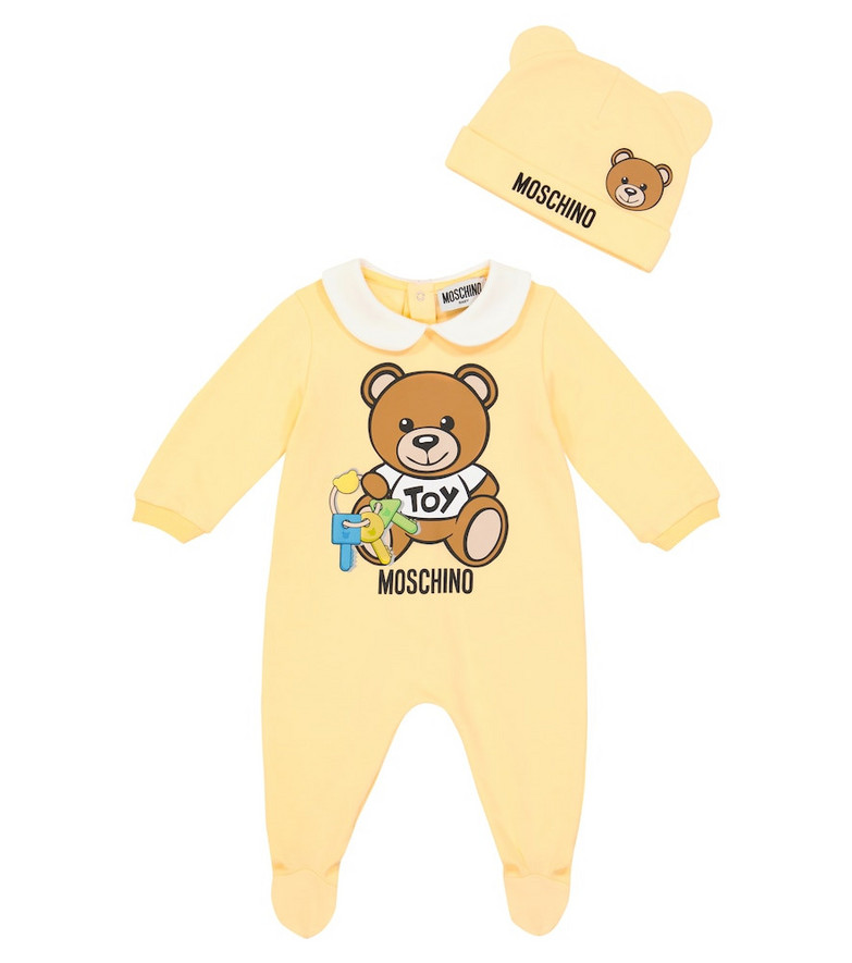 Moschino Kids Baby stretch-cotton onesie and hat set in yellow