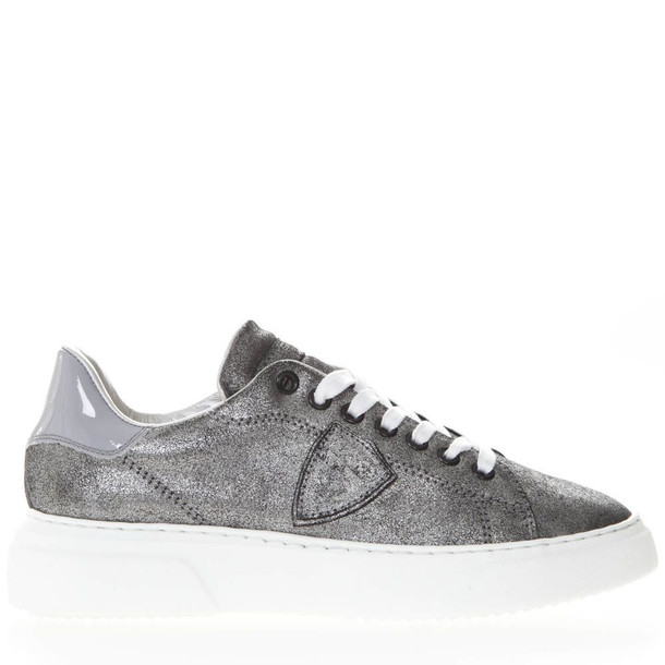Philippe Model Paris Grey Suede Leather Sneakers