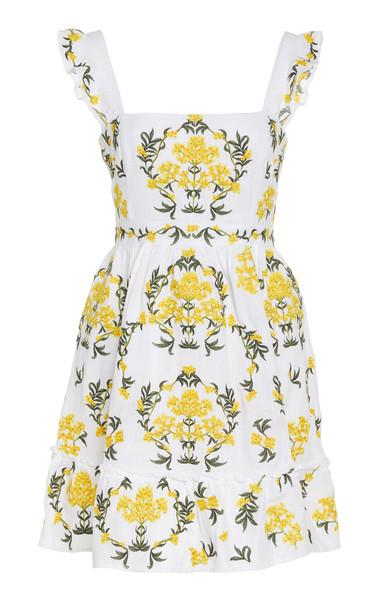 Agua by Agua Bendita Herbarium Embroidered Linen Mini Dress Size: XS in print