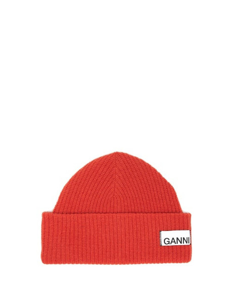 Ganni - Stitched Logo Ribbed Wool Blend Beanie - Womens - Red