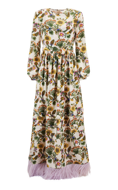 La DoubleJ Pemberly Feather-Embellished Maxi Dress in white