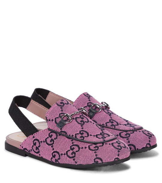 Gucci Kids Baby GG Multicolor Princetown canvas slippers in pink